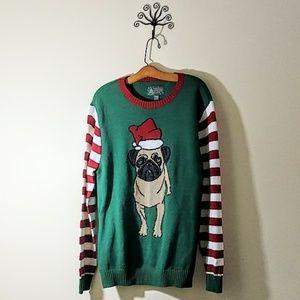 Ugly Christmas Sweater Sweaters - Santa Pug Dog Ugly Christmas Sweater size XL
